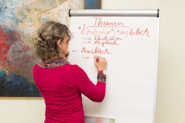Madlen Tamm schreibt auf einem Whiteboard